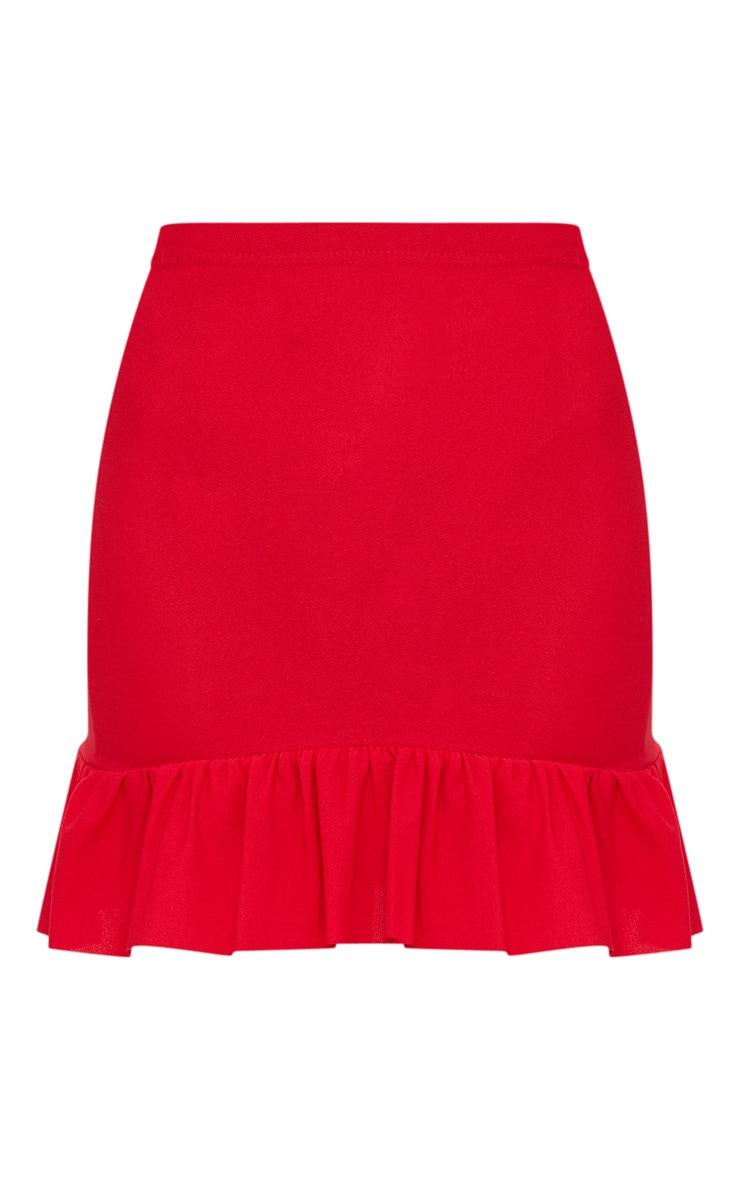 Red Frill Hem Mini Skirt  3