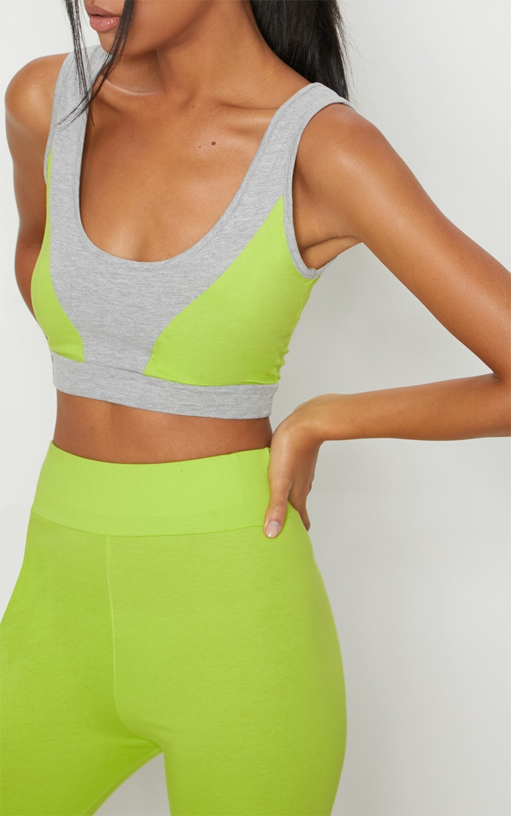 Lime Cotton High Waisted Sports Leggings 4