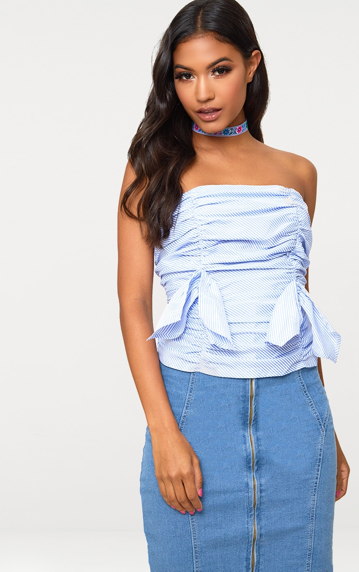 Blue Stripe Ruched Frill Bandeau Lace Up Back Shirt 1