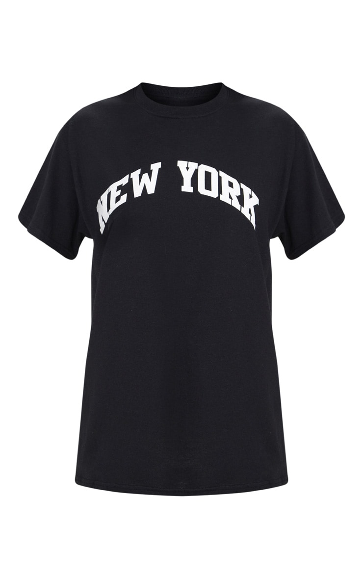 Black New York Slogan Oversized T Shirt 3