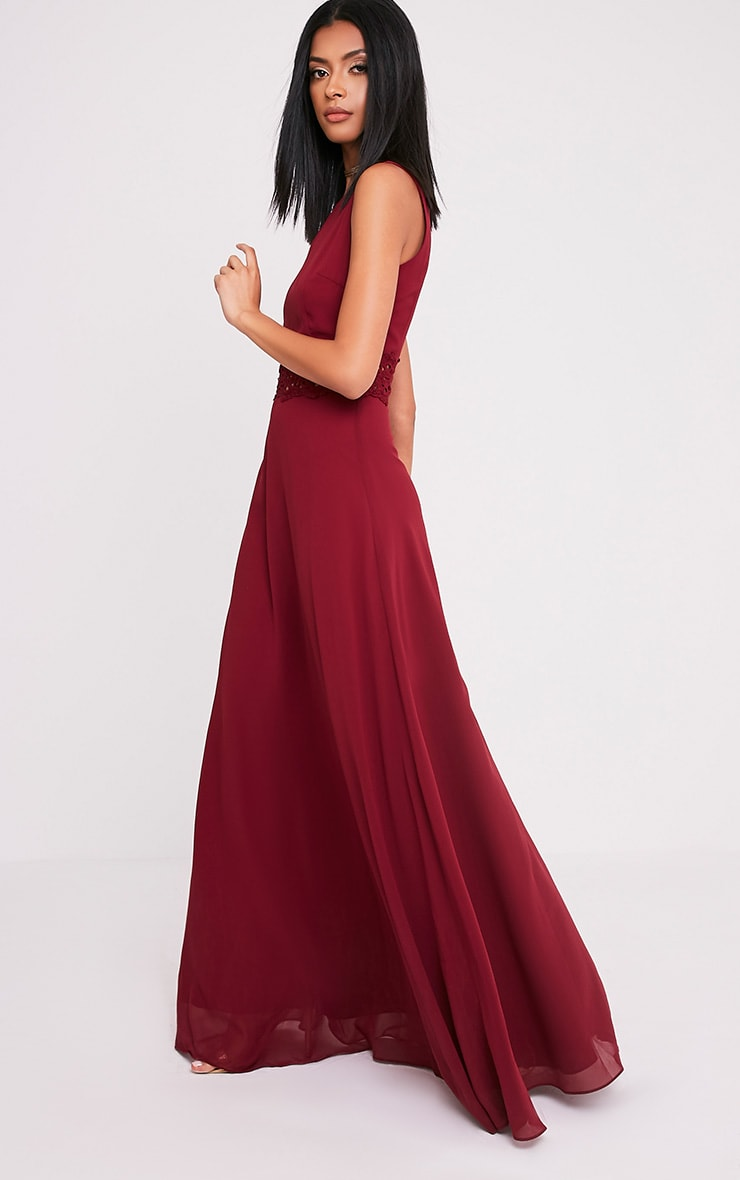 Caitlan Burgundy Lace Insert Maxi Dress 5