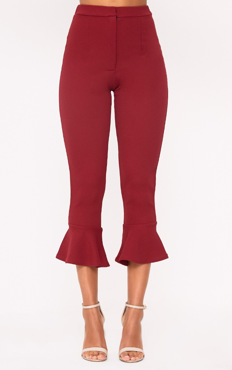 Burgundy Flare Hem Trouser 2