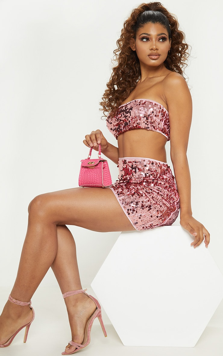 Tall Pink All Over Sequin Bandeau Top 1