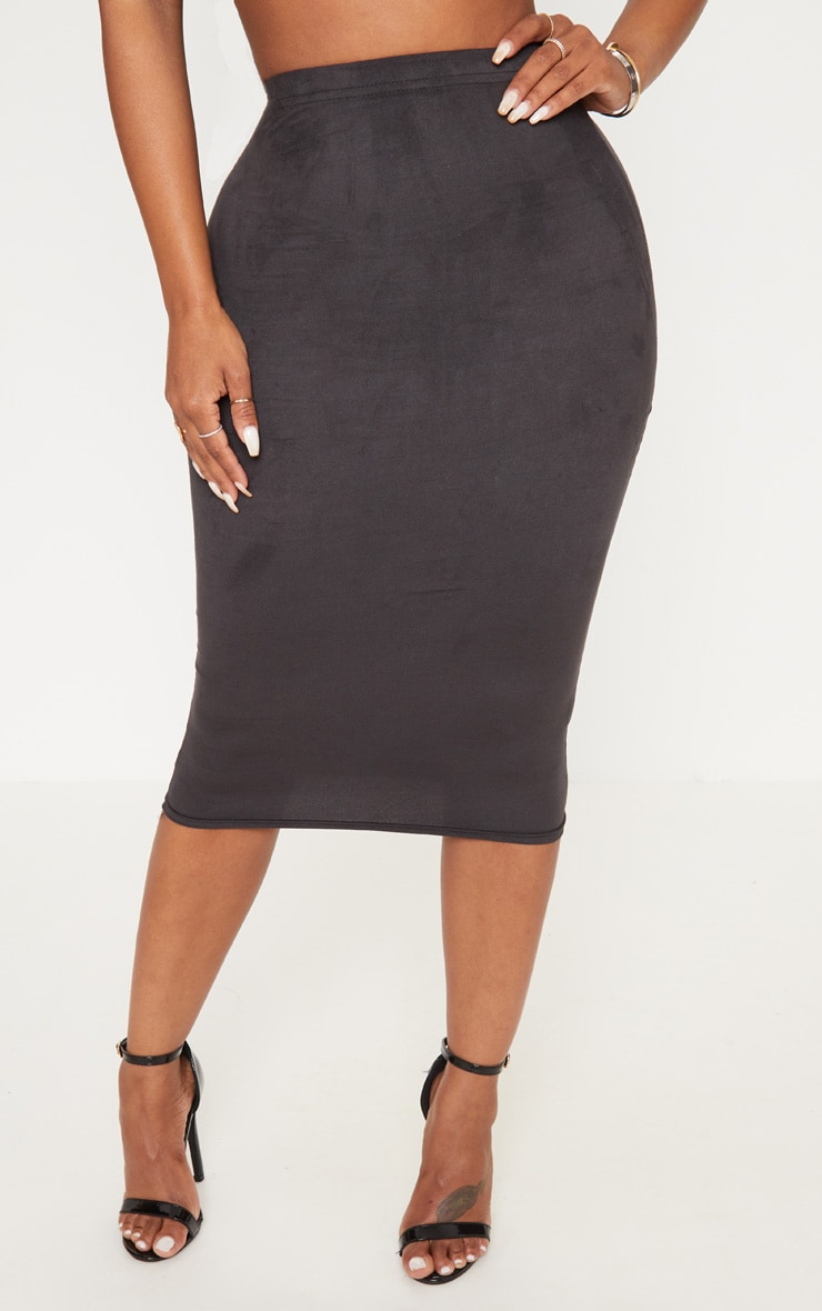 Shape Black Faux Suede Midi Skirt 2