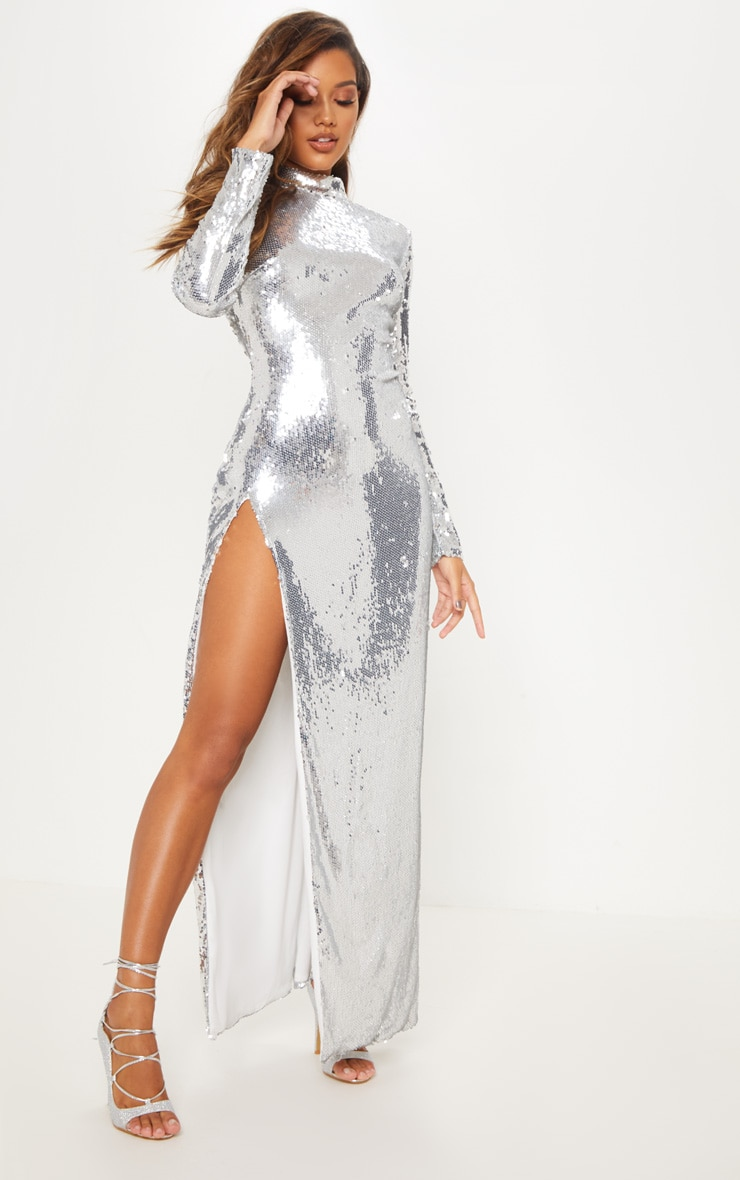 Silver Sequin Backless Maxi Dress 5
