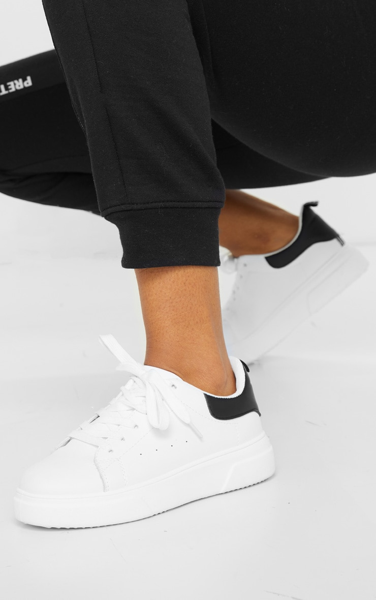 White Thick Sole Lace Up Sneakers 1