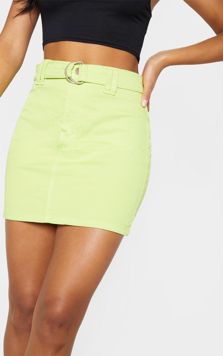 Jupe en jean vert citron à ceinture à anneau 6
