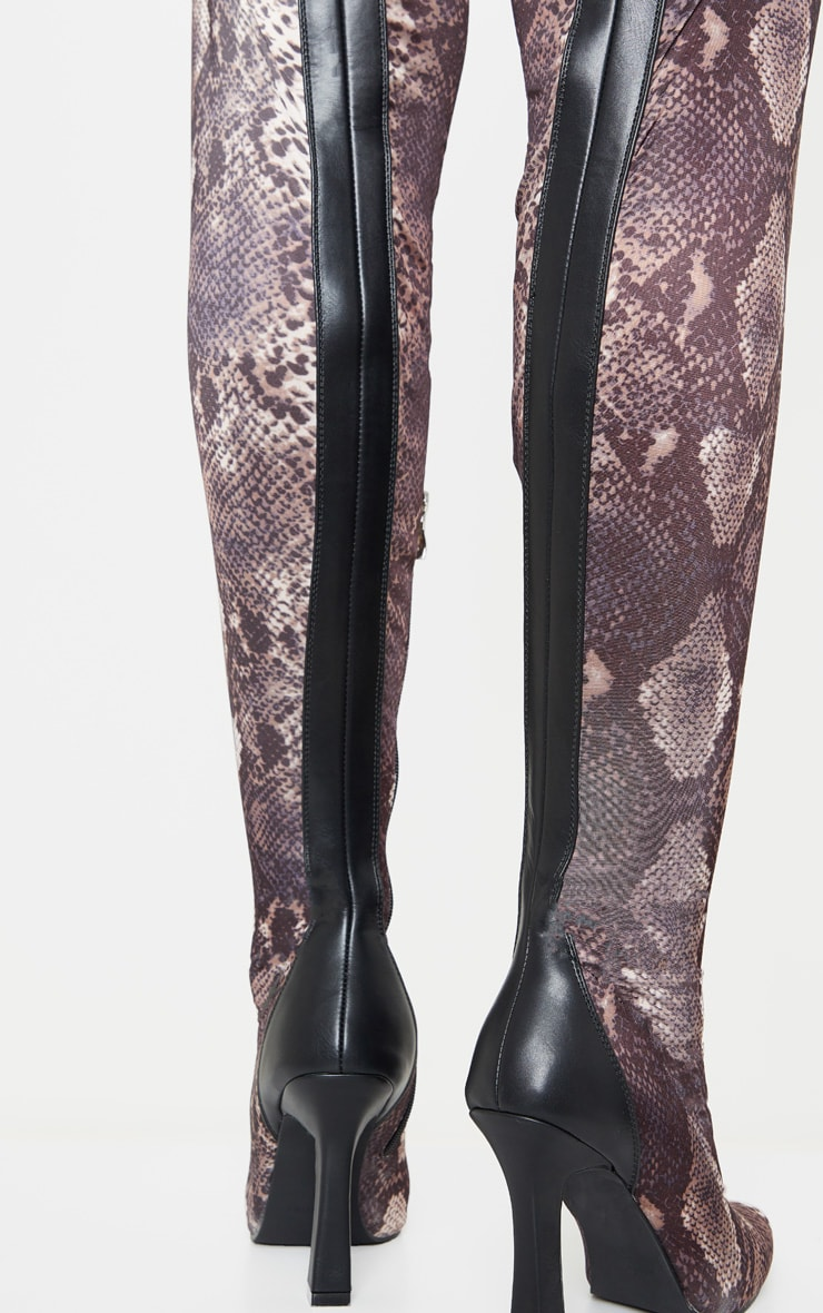 Brown Snake Flare Heel Zip Back Thigh High Boot 3
