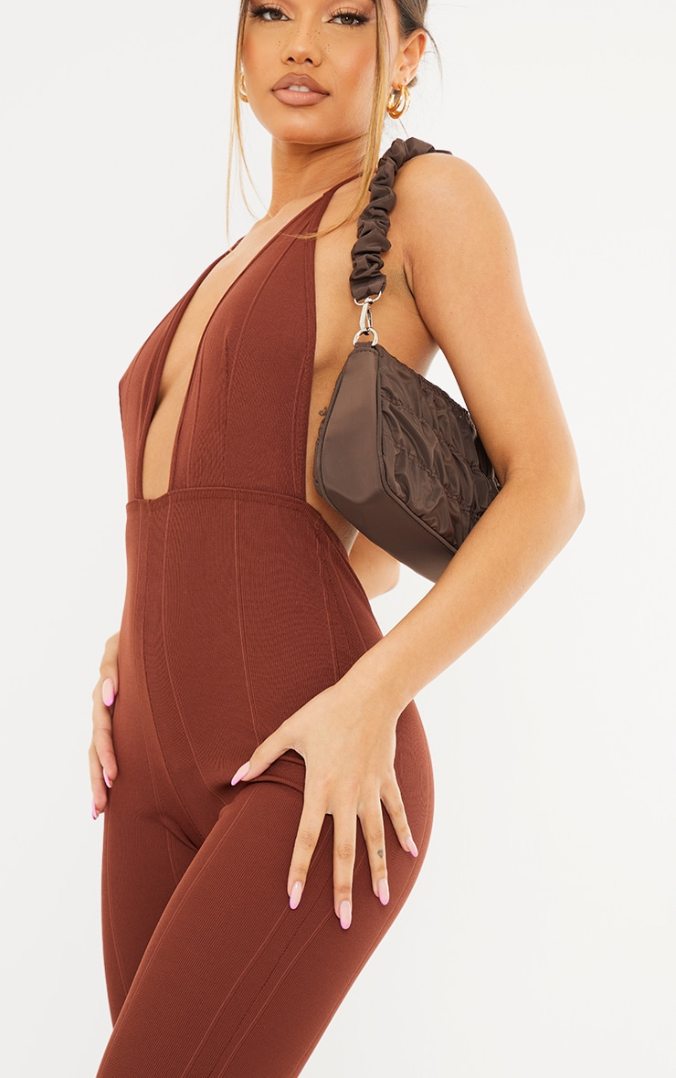 Chocolate Bandage Plunge Flared Leg Jumpsuit 4