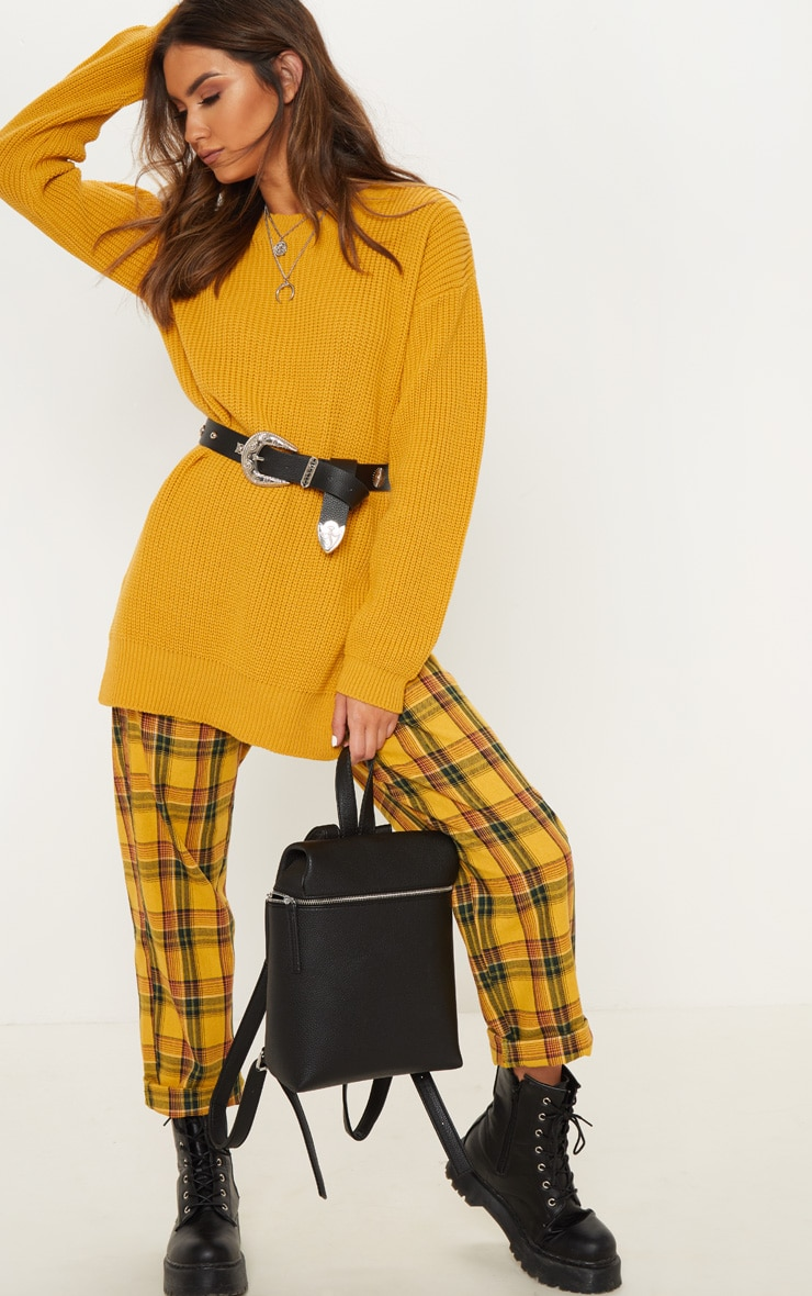Rexx Mustard Round Neck Side Split Sweater 4