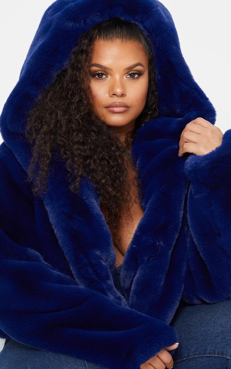 Plus Blue Cropped Faux Fur Hooded Coat 5