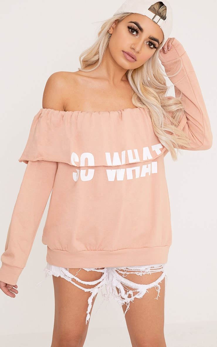 SO WHAT Slogan Dusty Coral Bardot Oversized Sweater 1