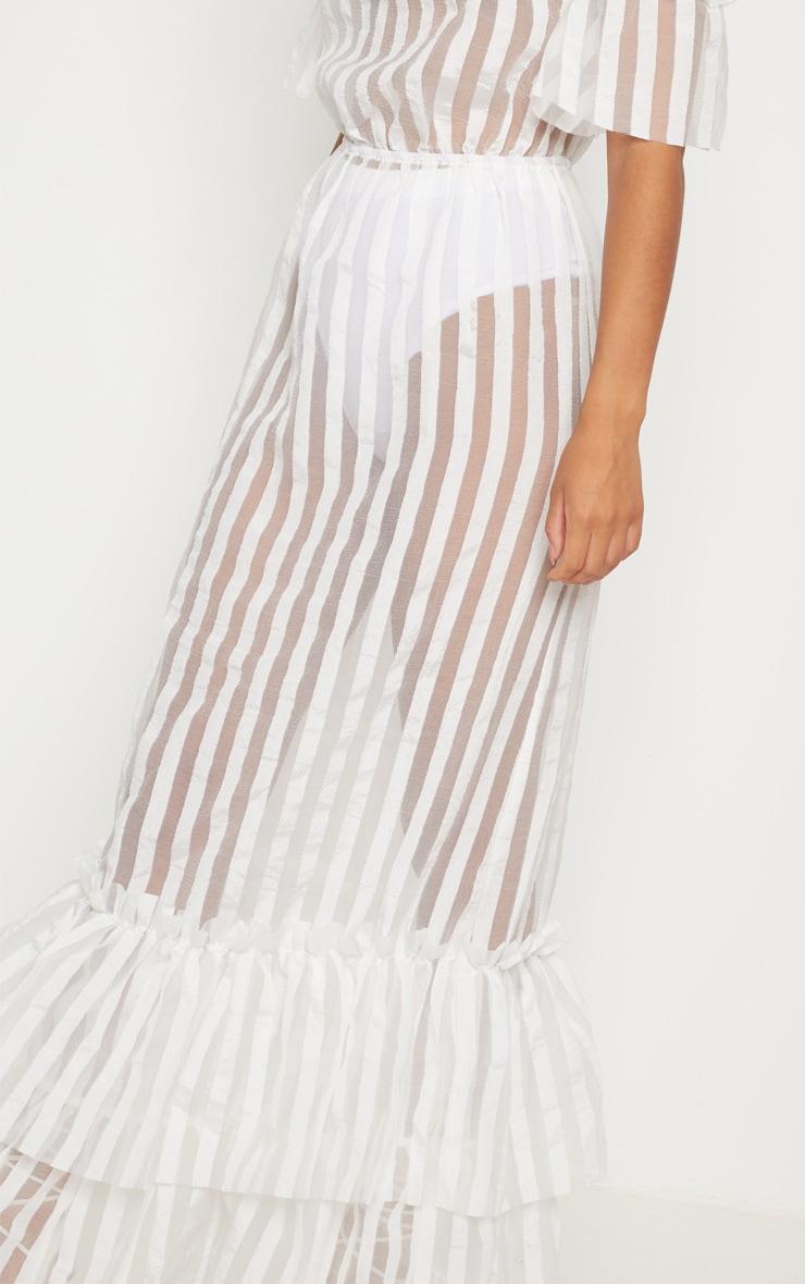 White Bardot Mesh Stripe Frill Hem Maxi Dress 5
