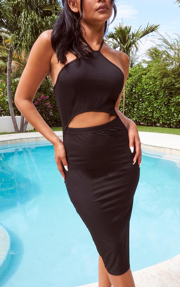 Black Halterneck Cut Out Midi Dress 4