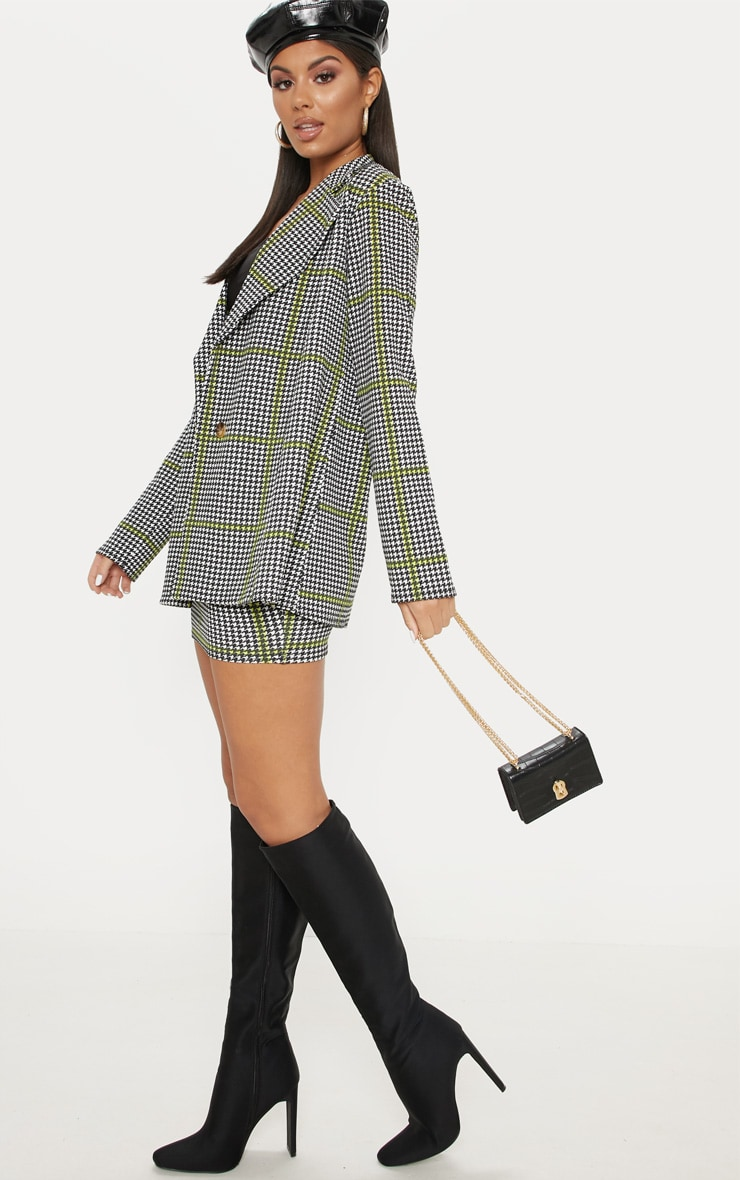 Black Dogtooth Oversized Blazer  4