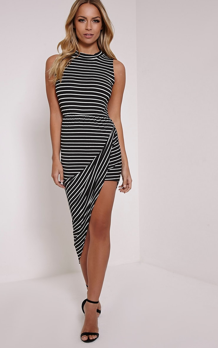 Mireya Black Striped Asymmetric Draped Dress 1