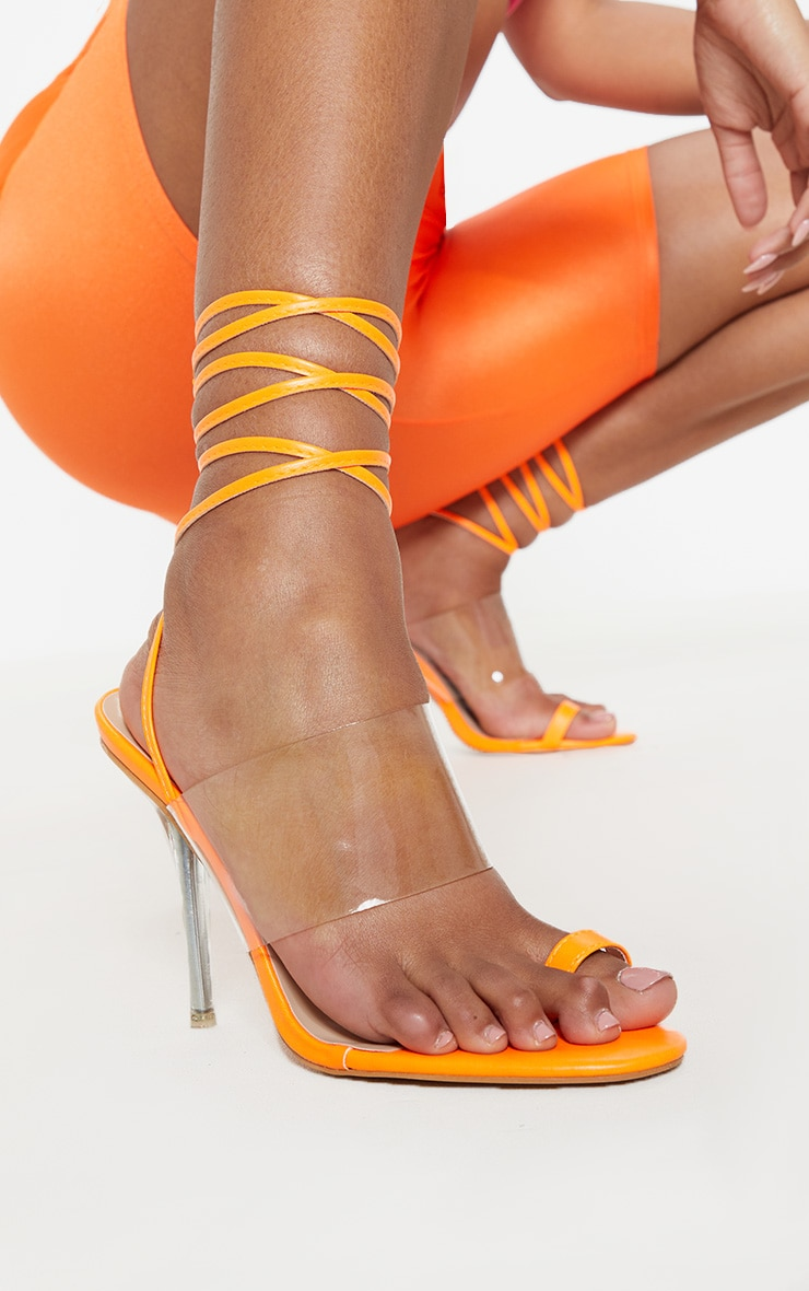 Orange Clear Heel Toe Loop Ankle Tie Sandal 2