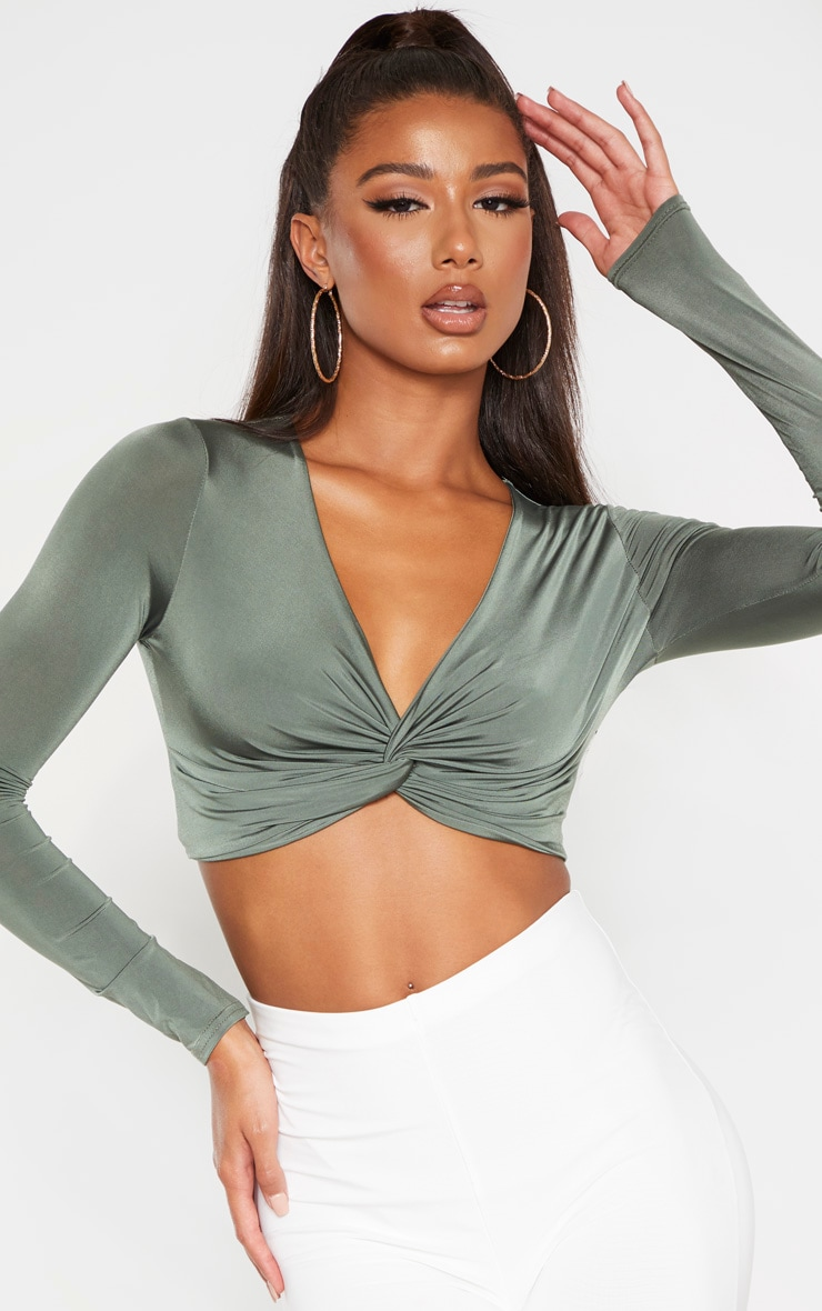 Khaki Slinky Twist Front Long Sleeve Crop Top