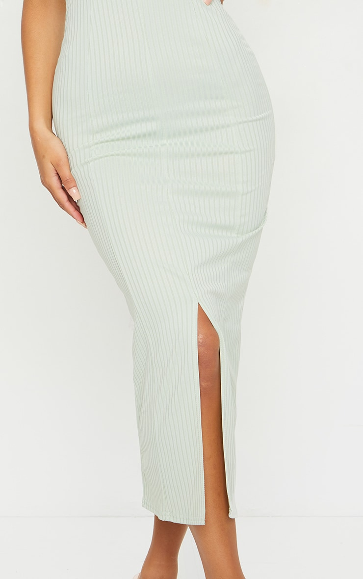 Sage Green Strappy Plunge Ribbed Midaxi Dress 4
