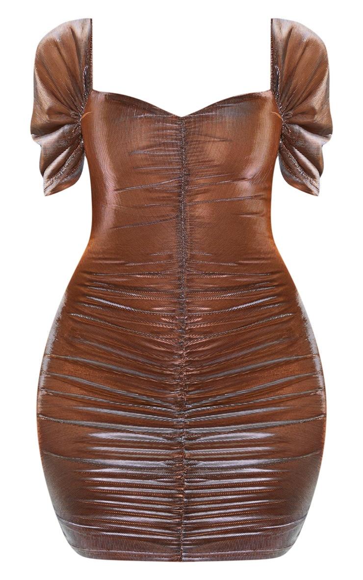 Bronze Iridescent Metallic Ruched Bodycon Dress 3
