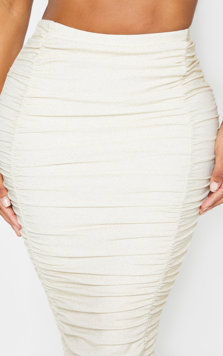 Shape Gold Glitter Ruched Detail Midi Skirt 5