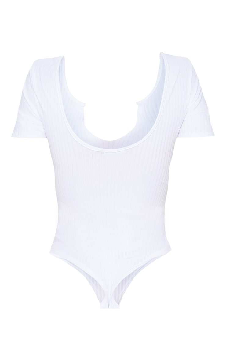 White Rib Short Sleeve Raw Edge Thong Bodysuit 4