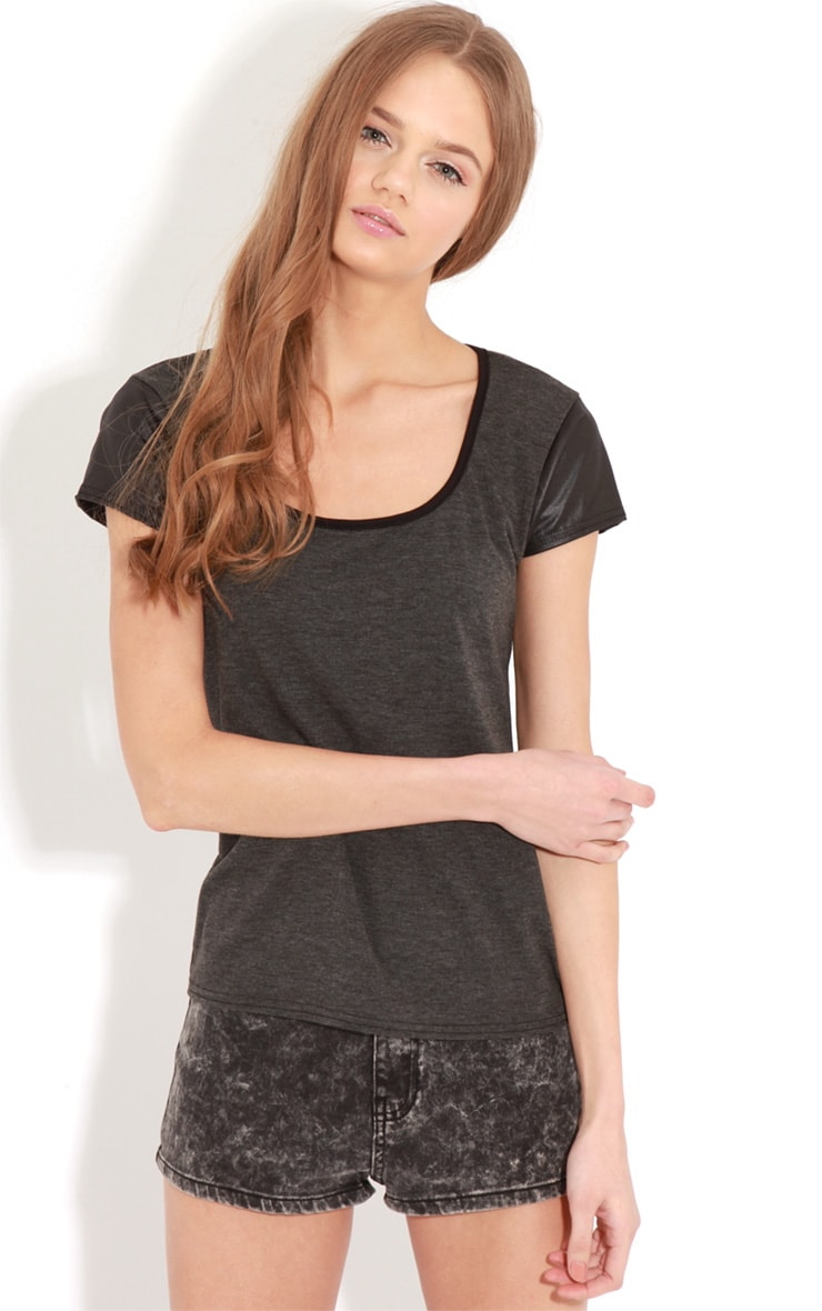 Cleo Charcoal Contrast Sleeve Top 4