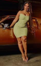 Plus Olive Bandage Pointed Bandeau Panelled Bodycon Dress 1