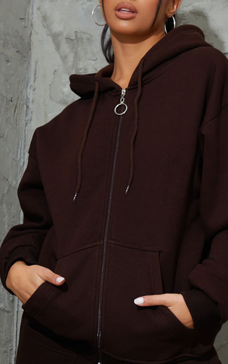 Petite Chocolate Brown Extreme Oversized Pocket Front Zip Through H 4
