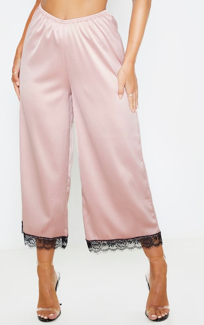 Dusty Pink Satin Contrast Lace Trim Culotte