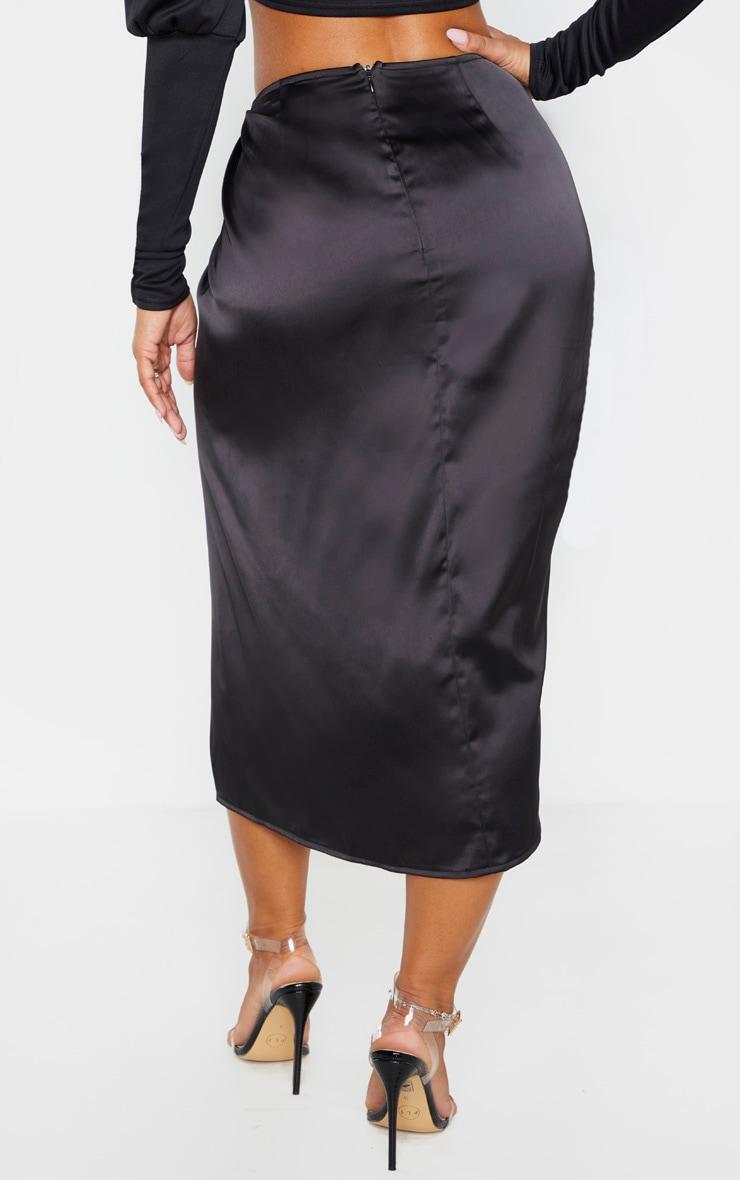 Black Satin Twist Front Midi Skirt 4