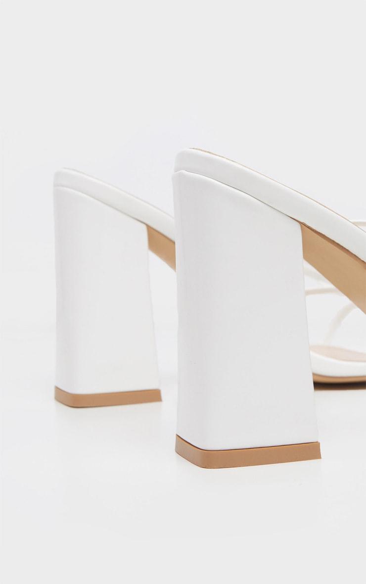 White Block Heel Ankle Tie Toe Thong Sandal 4