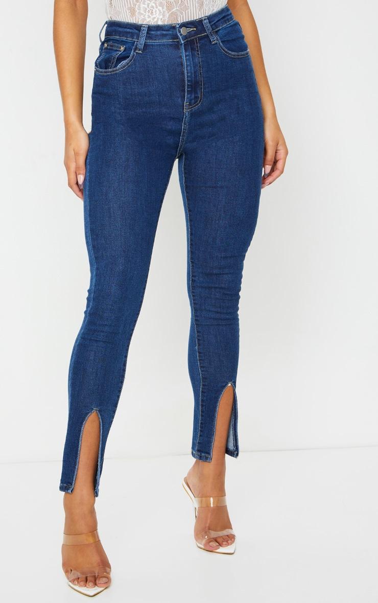 Mid Blue Wash Front Split Hem Skinny Jeans 2