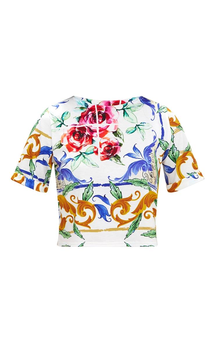 White Chain Print Crop T Shirt  3