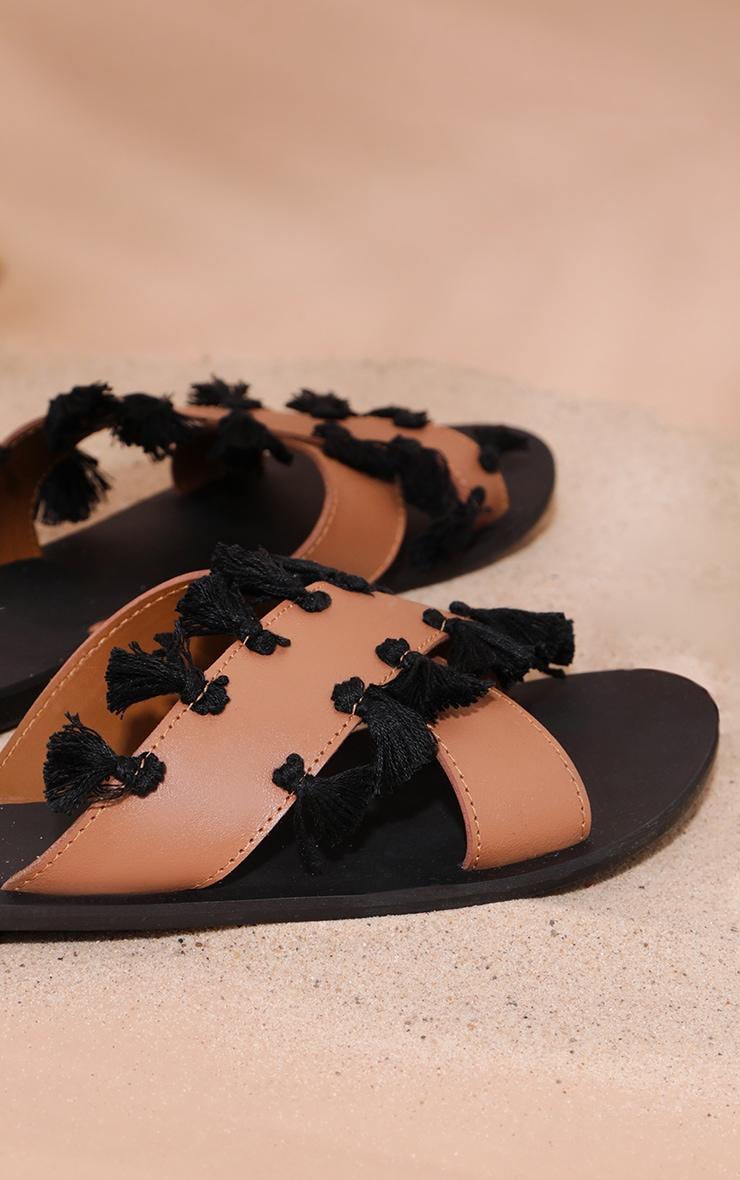 Tan Cross Strap Tassle Mule Sandal 4