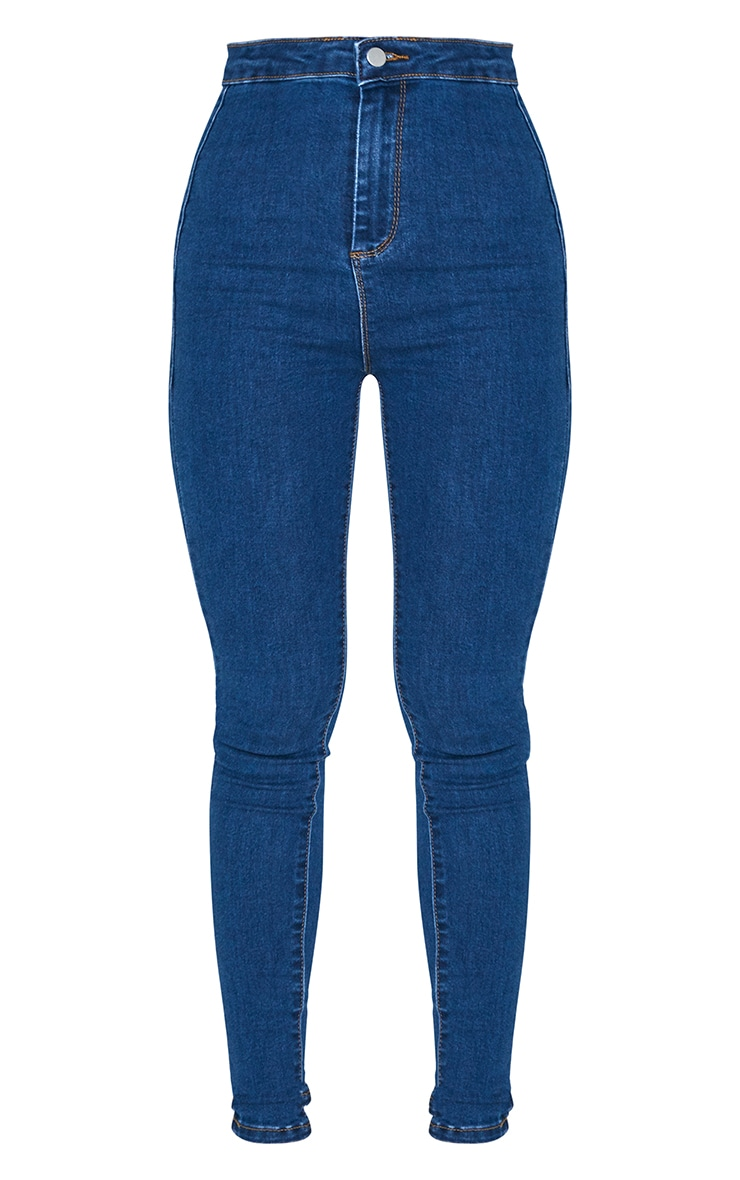 PRETTYLITTLETHING Mid Blue 5 Pocket Skinny Jeans 6