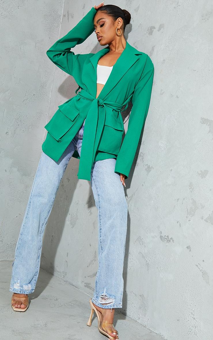 Emerald Green Woven Pocket Detail Belted Utilty Blazer 1