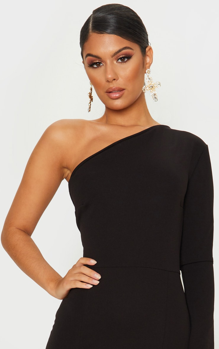 Black One Shoulder Long Sleeve Maxi Dress 5