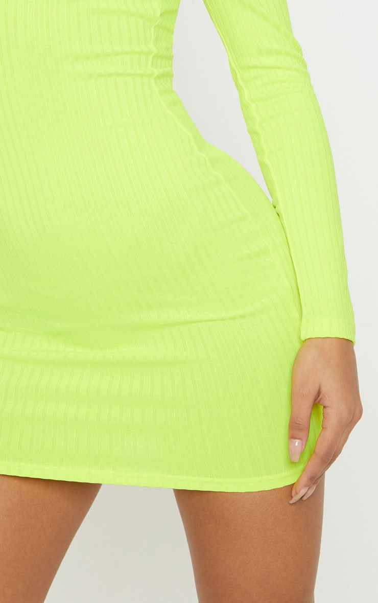 Neon Yellow Ribbed Long Sleeve Square Neck Bodycon Dress 5