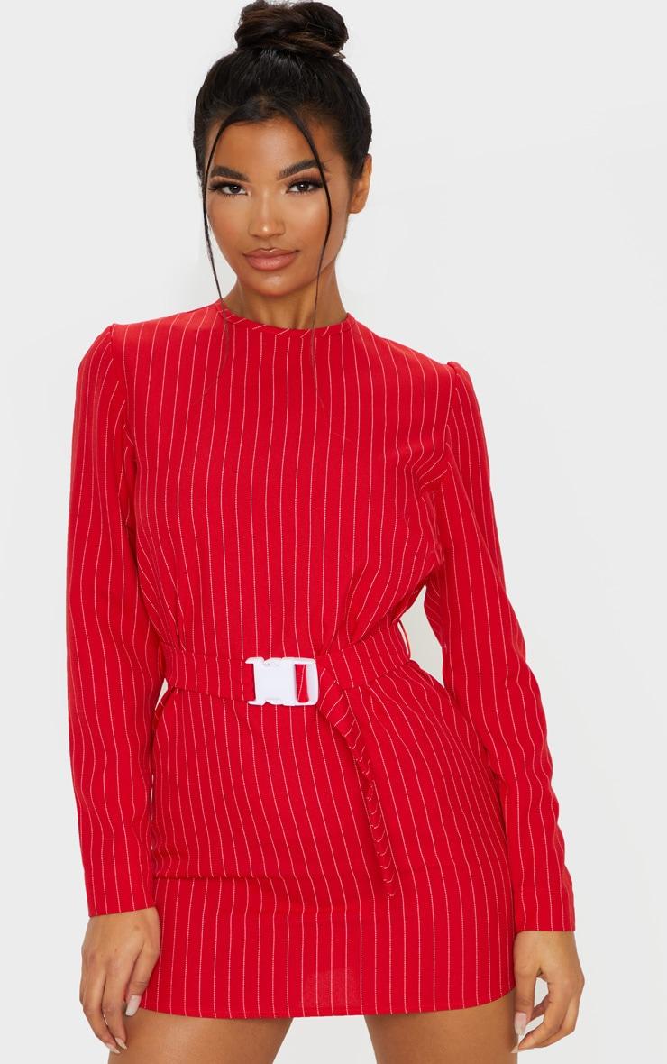 Red Long Sleeve Pinstripe Belt T Shirt Dress 1