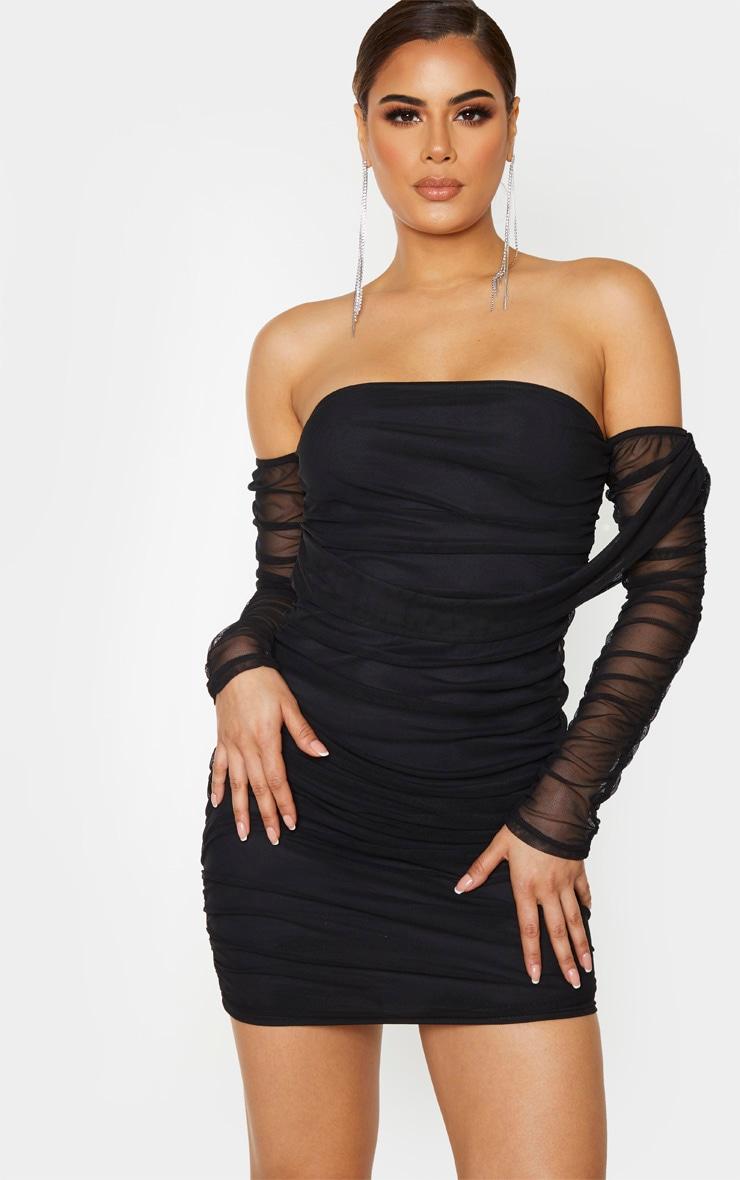 Tall Black Mesh Wrap Bodycon Dress 1