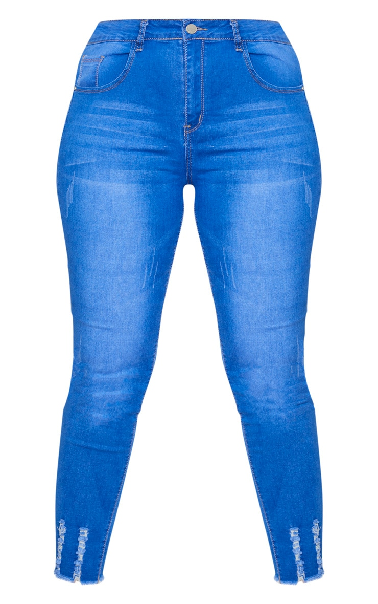 Plus Mid Blue Distressed Stretch Denim Jean 5