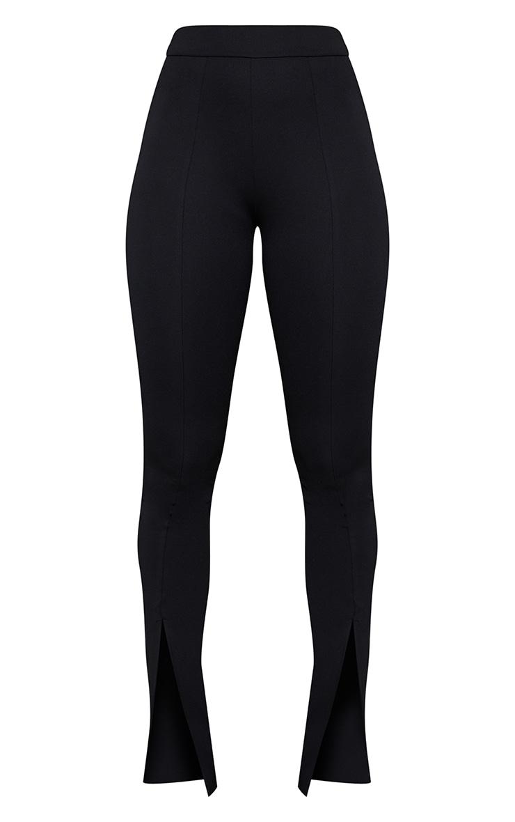 Black Stretch Scuba Skinny Split Hem Trousers 5