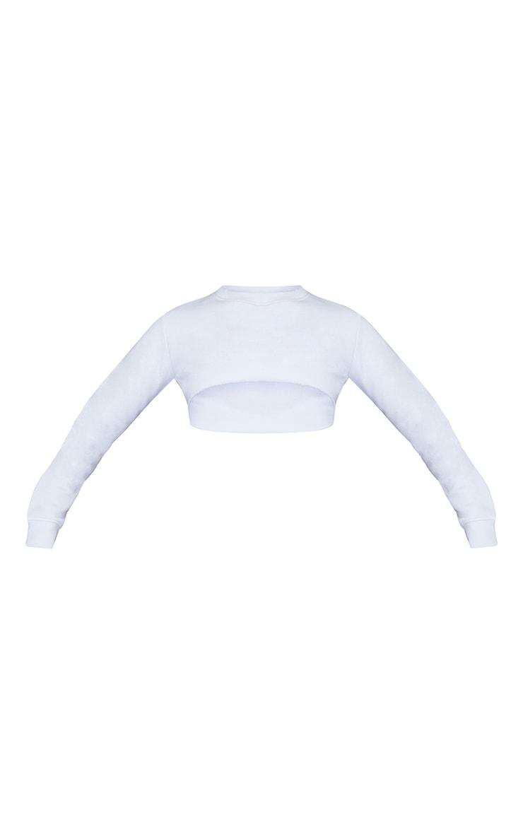 White Super Crop Raw Edge Arm Warmer Sweat 5