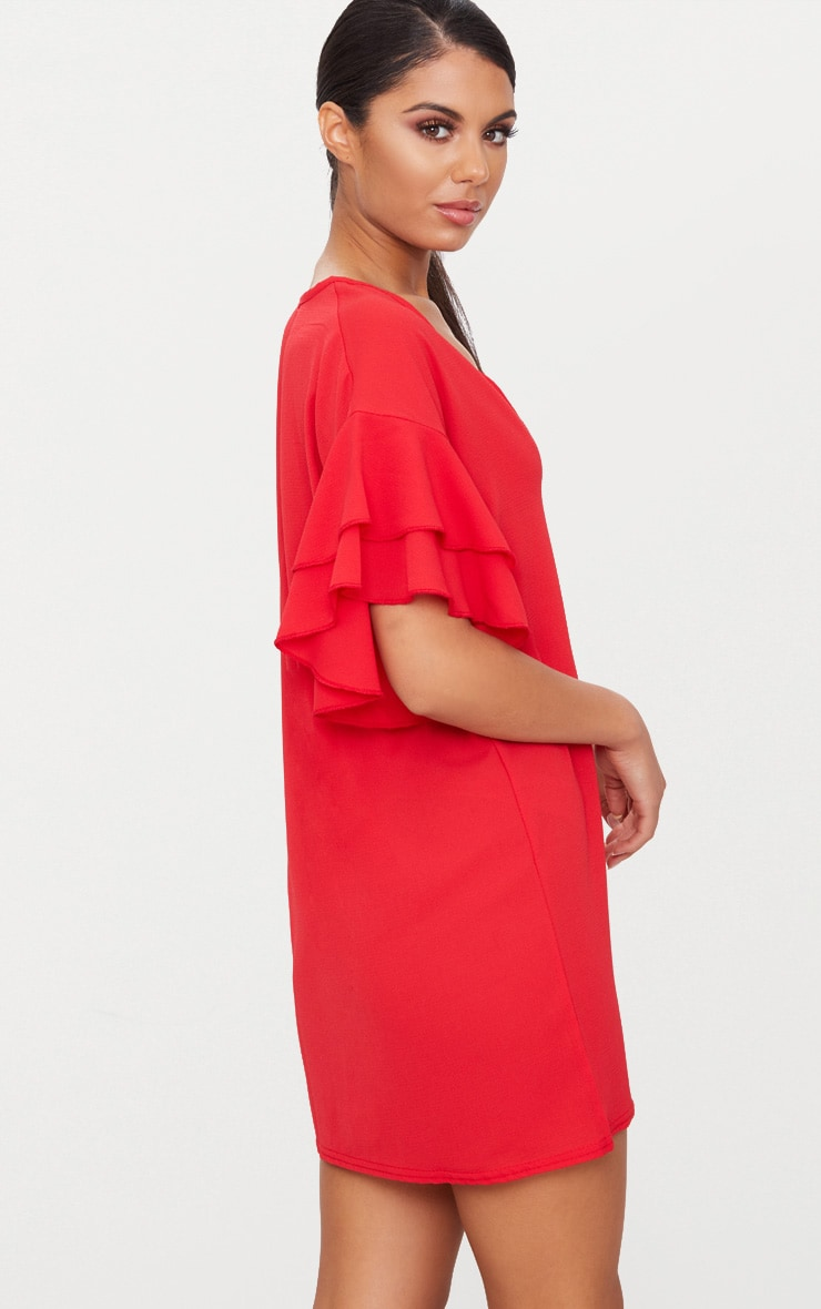 Red Double Frill Sleeve Shift Dress 2