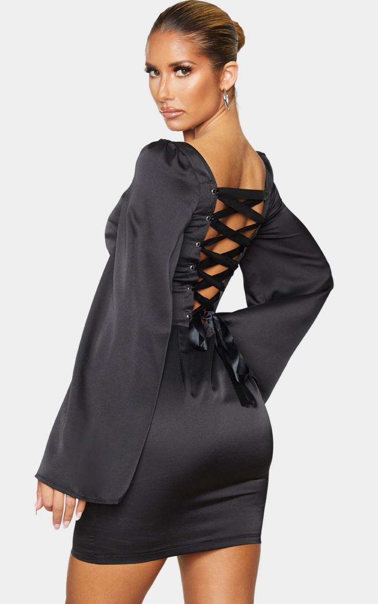 Black Lace Up Back Bodycon Dress 1