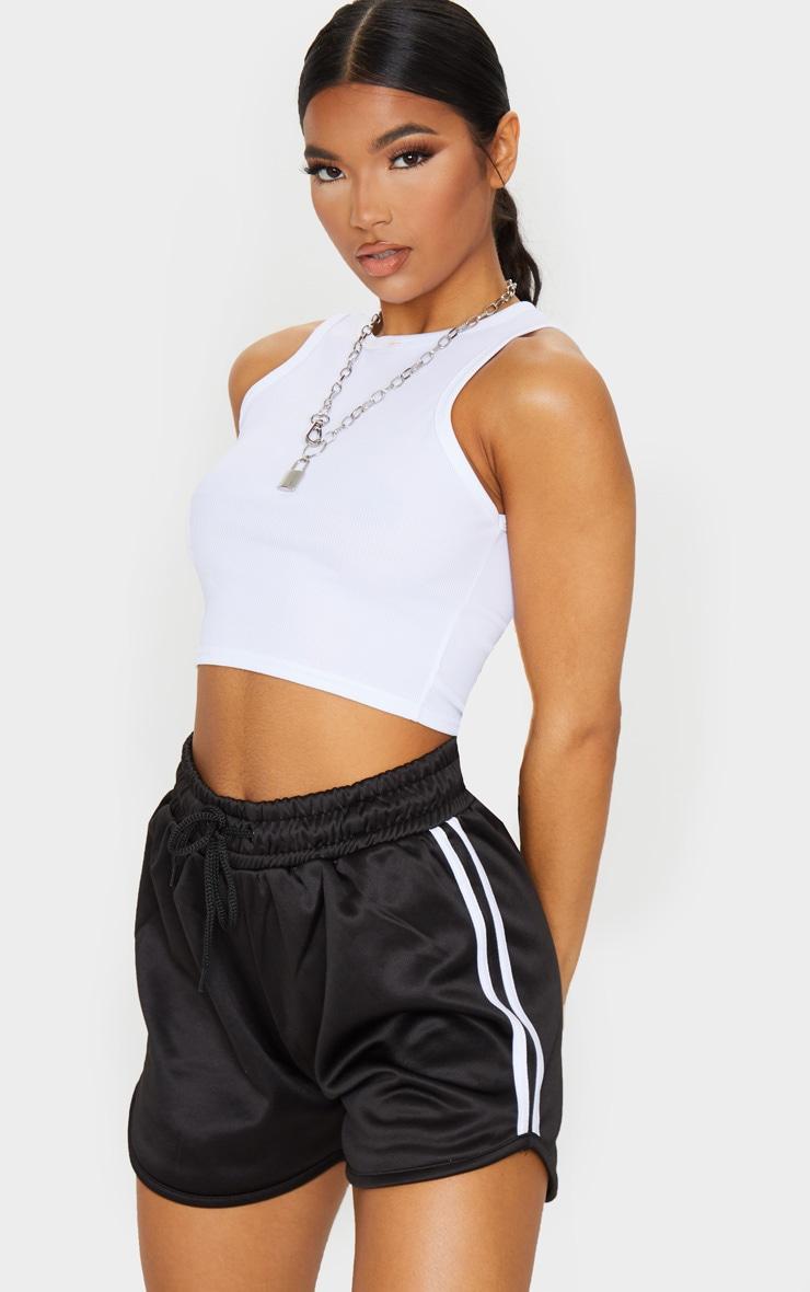 Black Stripe Nylon Side Stripe Drawstring Shorts 1