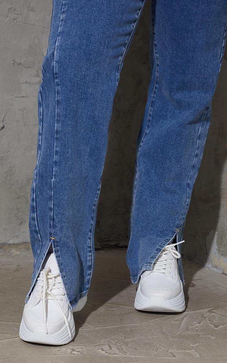 Plus Vintage Wash Double Side Seam Split Hem Jeans 4