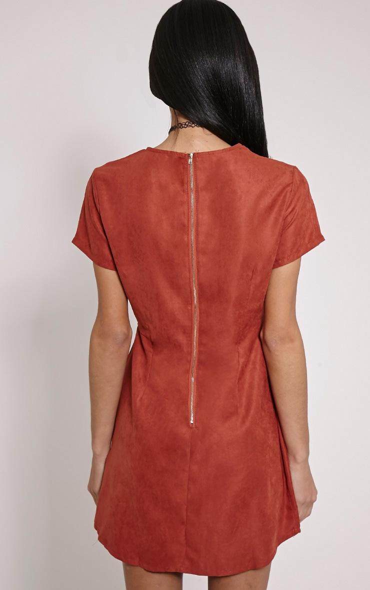 Yumie Terracotta Cord Cut Out A-Line Dress 2