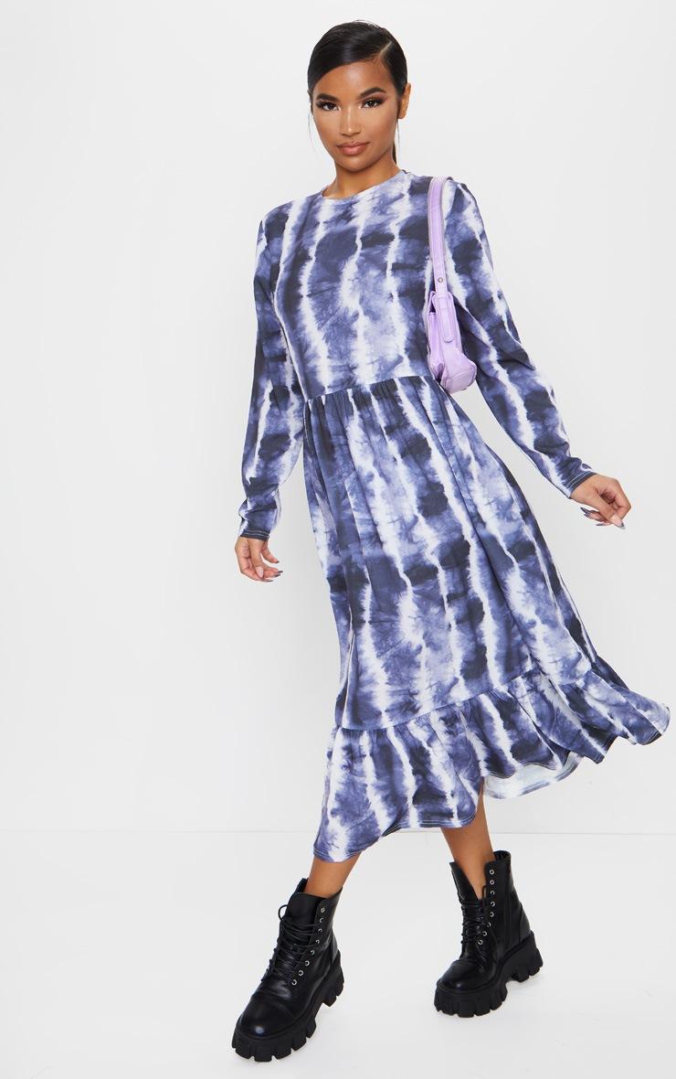 Navy Tie Dye Print Frill Hem Smock Midi Dress 1